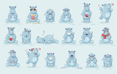 snoring: Set Vector Stock Illustrations isolated Emoji character cartoon Hippopotamus stickers emoticons with different emotions for site, info graphics, video, animation, website, newsletter, reports, comics