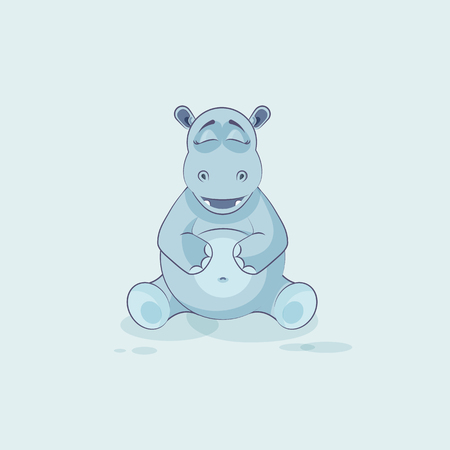 Vector Stock Illustration isolated Emoji character cartoon Hippopotamus Happy and contented hippo sticker emoticon for site, info graphics, video, animation, website, mail, newsletters, reports, comic