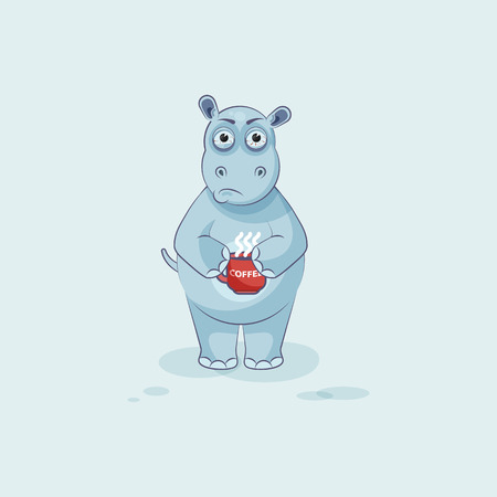 Vector Stock Illustration isolated Emoji character cartoon Hippopotamus nervous with cup of coffee sticker emoticon for site, info graphics, video, animation, website, mail, newsletter, report, comics Illustration