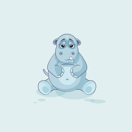 eyes looking down: Vector Stock Illustration isolated Emoji character cartoon Hippopotamus sad and frustrated sticker emoticon for site, info graphics, video, animation, websites, e-mails, newsletters, reports, comics Illustration