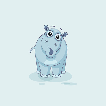 Vector Stock Illustration isolated Emoji character cartoon Hippopotamus surprised with big eyes sticker emoticon for site, info graphics, video, animation, websites, mail, newsletters, reports, comic