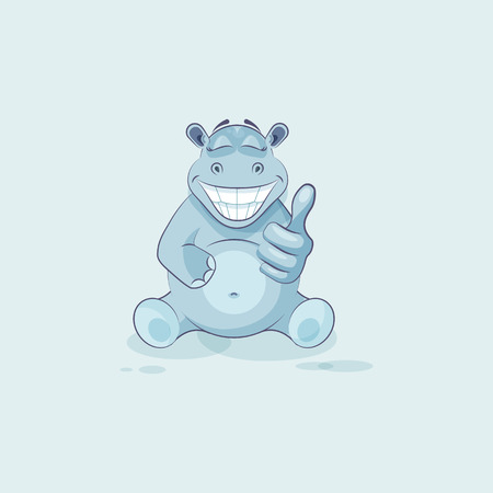 Vector Stock Illustration isolated Emoji character cartoon Hippopotamus approves with thumb up sticker emoticon for site, info graphics, video, animation, websites, mails, newsletters, reports, comics Illustration