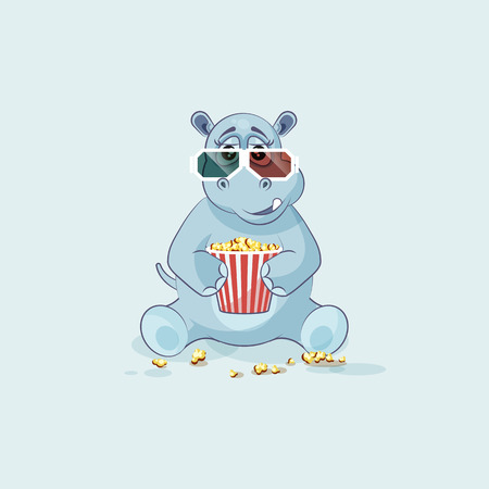 Vector Stock Illustration Emoji character cartoon Hippopotamus chewing popcorn, watching movie 3D glasses sticker emoticon for site, info graphic, video, animation, website, mail, newsletter, report Illustration