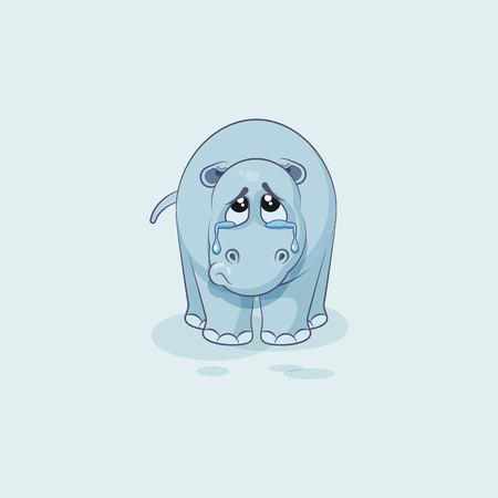 eyes looking down: Vector Stock Illustration isolated Emoji character cartoon sad and frustrated Hippopotamus crying, tears sticker emoticon for site, info graphic, video, animation, website, mail, newsletters, report