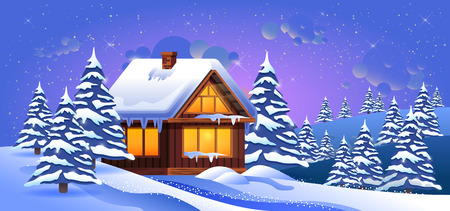 Stock vector illustration of a winter landscape with snow drifts, fir trees, wooden house at sunset