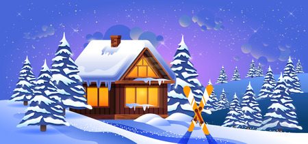 snowdrifts: Stock vector illustration of a winter landscape with snow drifts, fir trees, skis stuck in snow and wooden house at sunset
