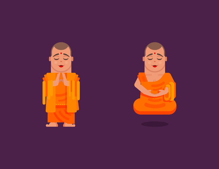 buddhist monk: Stock vector illustration of a Buddhist monk is meditating and hovering above the ground while praying in a flat style on a dark background
