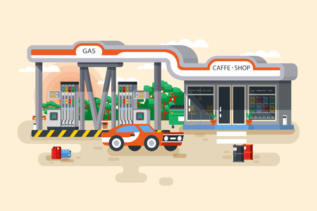 filling station: Stock vector illustration of gas and petrol filling station in a flat style