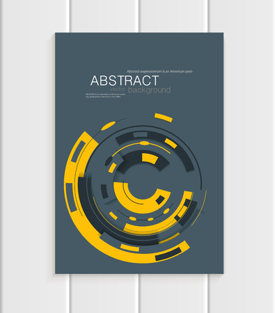 distributing: Stock vector brochure in abstract style. Design business templates with yellow rounds, rectangular shapes on dark gray background for printed materials, elements, web sites, cards, covers, wallpaper Illustration