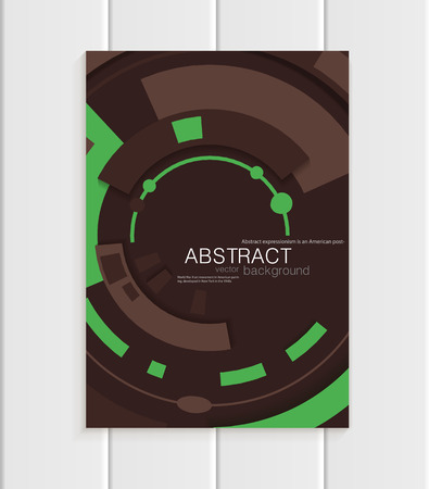 distributing: Stock vector brochure in abstract style. Design business templates with green rounds, rectangular shapes on dark brown background for printed materials, elements, web sites, cards, covers, wallpaper Illustration