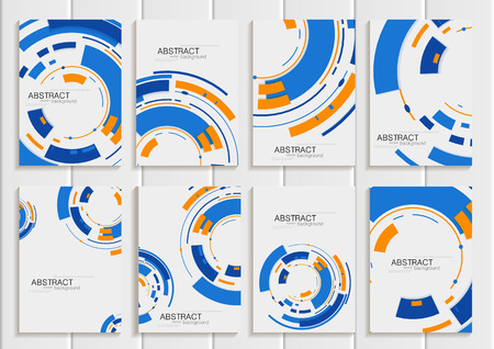 printed material: Stock vector set of brochures in abstract style. Design business templates with blue round, rectangular shapes on light gray background for printed material, element, web site, card, cover, wallpaper Illustration
