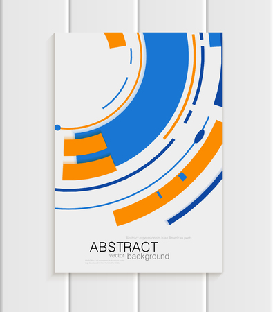 distributing: Stock vector brochure in abstract style. Design business template with yellow round, blue rectangular shapes on light gray background for printed material, element, web sites, cards, covers, wallpaper