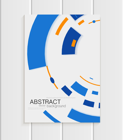 printed material: Stock vector brochure in abstract style. Design business template with yellow round, blue rectangular shapes on light gray background for printed material, element, web sites, cards, covers, wallpaper