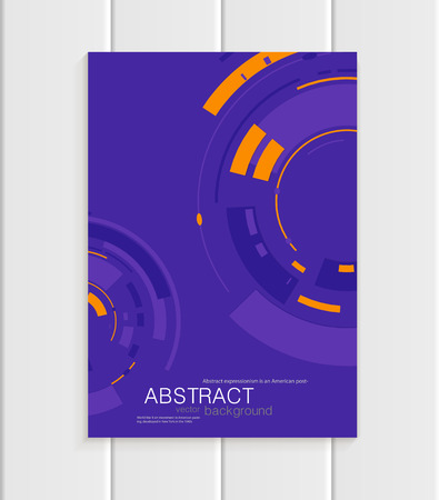 distributing: Stock vector brochure in abstract style. Design business templates with yellow rounds, violet rectangular shapes on purple background for printed materials, elements, web site, card, covers, wallpaper