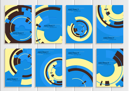 printed material: Stock vector set of brochures in abstract style. Design business templates with yellow round, dark rectangular shapes on blue background for printed material, element, web site, card, cover, wallpaper Illustration