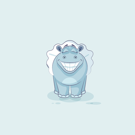 behemoth: Vector Stock Illustration isolated Emoji character cartoon ballerina Hippopotamus with huge smile from ear to ear sticker emoticon for info graphic, animation, website, mail, newsletter, report, comic Illustration