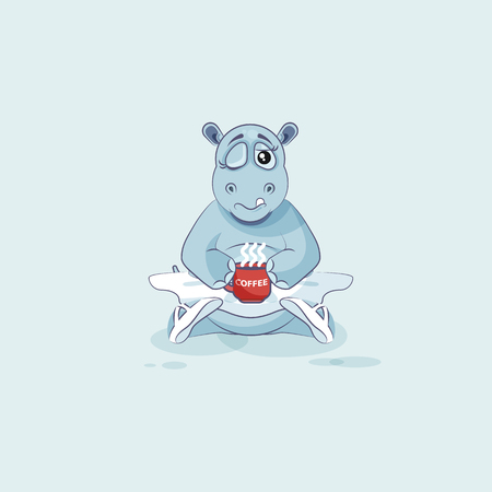 behemoth: Vector Stock Illustration isolated Emoji character cartoon ballerina Hippopotamus just woke up with cup of coffee sticker emoticon for site, info graphic, video, animation, website, mail, newsletter