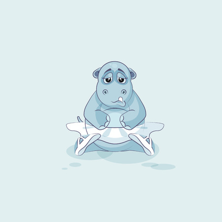 animal tutu: Vector Stock Illustration isolated Emoji character cartoon ballerina Hippopotamus sad and frustrated sticker emoticon for info graphics, video, animation, websites, mail, newsletter, report, comics Illustration