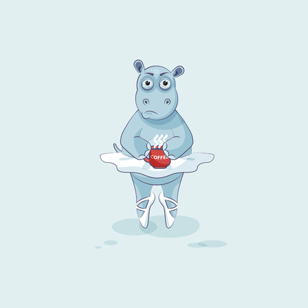 Vector Stock Illustration isolated Emoji character cartoon ballerina Hippopotamus nervous with cup of coffee sticker emoticon for site, info graphic, video, animation, website, mail, newsletter, comic Illustration