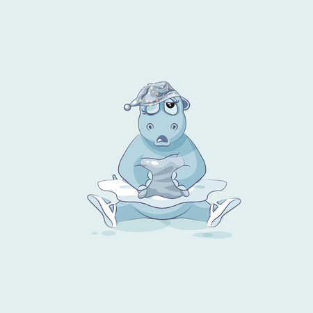 Vector Stock Illustration isolated Emoji character cartoon sleepy ballerina Hippopotamus in nightcap with pillow sticker emoticon for site, info graphic, video, animation, website, newsletter, report Illustration