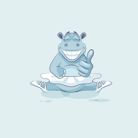 Vector Stock Illustration isolated Emoji character cartoon ballerina Hippopotamus approves with thumb up sticker emoticon for info graphic, video, animation, website, mail, newsletter, reports, comics
