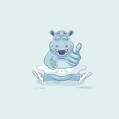 animal tutu: Vector Stock Illustration isolated Emoji character cartoon ballerina Hippopotamus approves with thumb up sticker emoticon for info graphic, video, animation, website, mail, newsletter, reports, comics