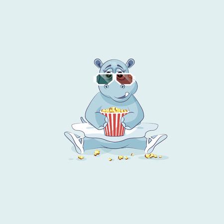 Vector Stock Illustration Emoji character cartoon ballerina Hippopotamus chewing popcorn, watching movie 3D glasses sticker emoticon for info graphic, animation, website, mail, newsletter, report