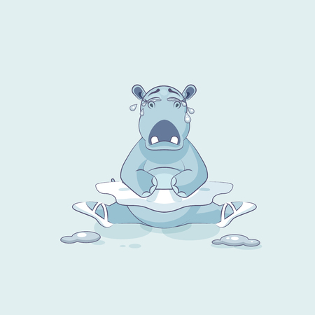 Vector Stock Illustration isolated Emoji character cartoon ballerina Hippopotamus is sitting on the splits and crying, lot of tears sticker emoticon for site, info graphic, video, animation, comics