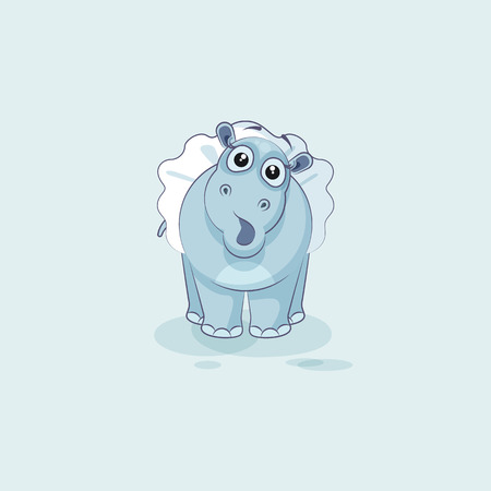 Vector Stock Illustration isolated Emoji character cartoon ballerina Hippopotamus surprised with big eyes sticker emoticon for info graphics, video, animation, website, mail, newsletter, report, comic Illustration