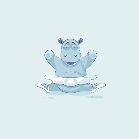 animal tutu: Vector Stock Illustration isolated Emoji character cartoon ballerina Hippopotamus sits in splits Happy and contented hippo sticker emoticon for info graphic, animation, website, mail, reports, comic