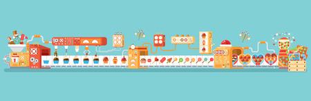 Ilustracji wektorowych poziome poziome pojedyncze taśmociągu do produkcji i pakowania cukierków, lizaków i słodyczy, w płaskim stylu na niebieskim tle banner, strona internetowa, drukowane materiały, infographic