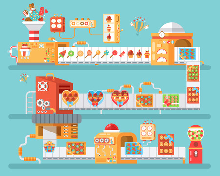 Stock vector vertical illustration of isolated conveyor for production and packaging candies, lollipops and sweets, in flat style on blue background for banner, website, printed materials Stock Illustratie