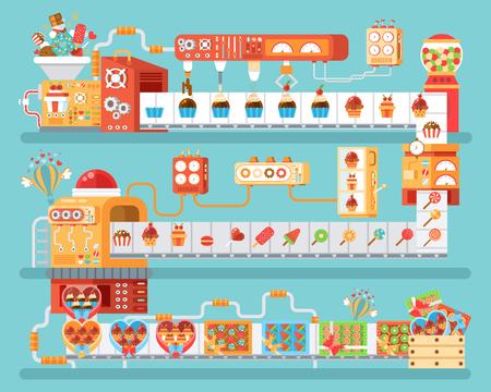 chocolatería: Stock photography vertical ilustración de transportador aislado para la producción y envasado dulces, piruletas y dulces, en estilo plano sobre fondo azul para la bandera, sitio web, materiales impresos, infográfico Vectores