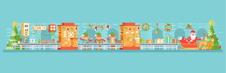 Ilustración vectorial stock de aislados Navidad transportador con duendes paquete de regalos cerca del abeto árbol festivamente vestidos, estilo plano sobre fondo blanco para Feliz Año Nuevo info gráficos 2017