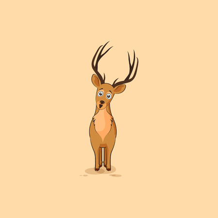Illustration isolated emoji character cartoon deer surprised with big eyes sticker emoticon for site