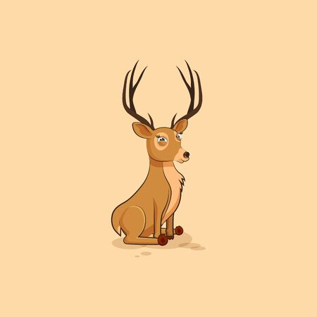 Illustration isolated emoji character cartoon deer squints and looks suspiciously sticker emoticon for site