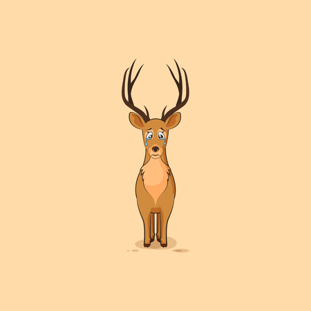 eyes looking down: Illustration isolated emoji character cartoon sad and frustrated deer crying, tears sticker emoticon for site