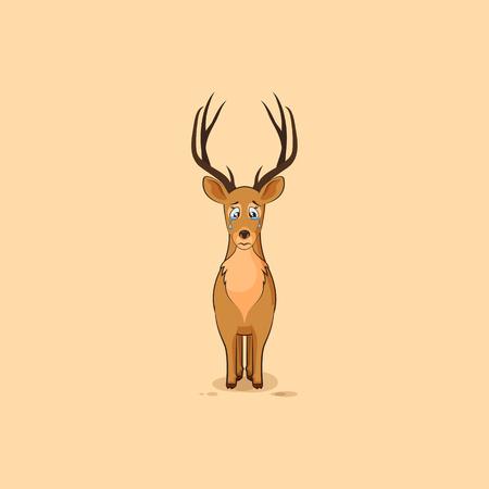 Ilustración de dibujos animados de caracteres emoji ciervos tristes y frustrados llorar, las lágrimas emoticono personalizado para el sitio