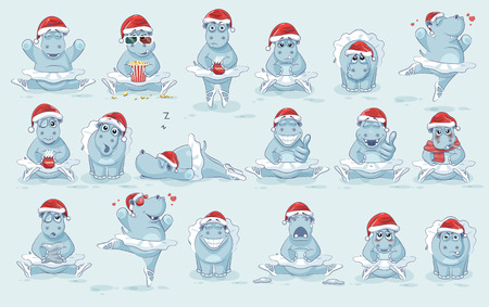 Illustrations isolated Emoji character cartoon ballerina Hippopotamus dances ballet stickers emoticons different emotions Illustration