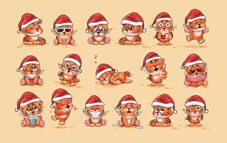 tigre cachorro: Ilustraciones aisladas Emoji personaje de dibujos animados tigre cachorro emoticonos pegatina con diferentes emociones