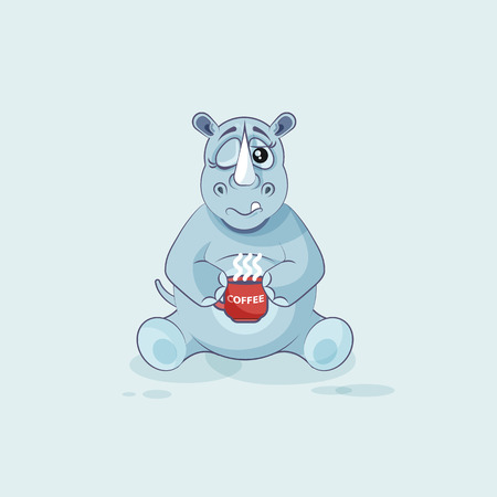 personages: Illustration isolated emoji character cartoon rhinoceros just woke up with cup of coffee sticker emoticon