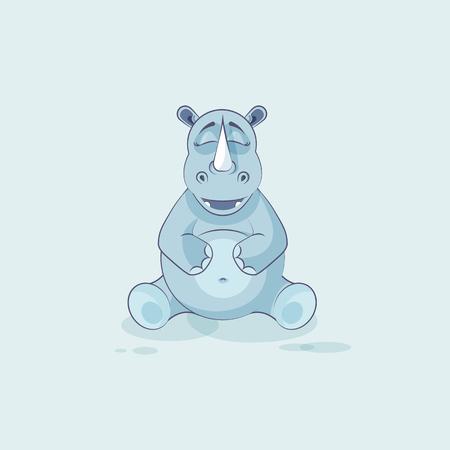 Illustration isolated emoji character cartoon rhinoceros Happy and contented rhino sticker emoticon Illustration
