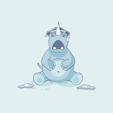 personages: Illustration isolated emoji character cartoon rhinoceros crying, lot of tears sticker emoticon Illustration