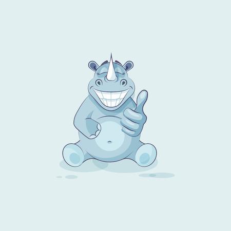 Illustration isolated emoji character cartoon rhinoceros approves with thumb up sticker emoticon Illustration