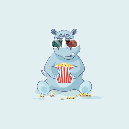 Illustration emoji character cartoon rhinoceros chewing popcorn, watching movie 3D glasses sticker emoticon
