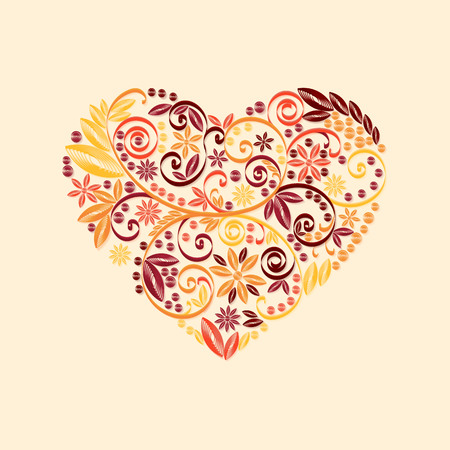 quilling: Happy Valentine Day heart decor red, orange, yellow quilling pattern