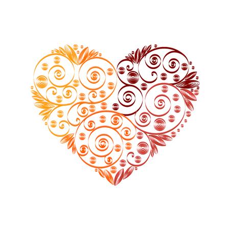 Happy Valentine Day heart decor red, orange, vinous quilling pattern Illustration