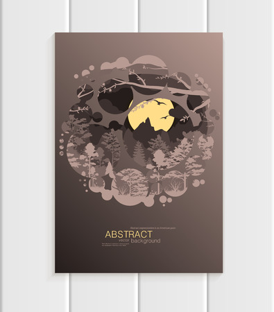distributing: Brochure design business template nature element with abstract circles unusual landscape, decor on brown background