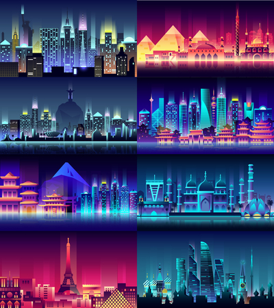 Brazil, Russian, France, Japan, India, Egypt, China, USA city night neon style architecture buildings town country travel Illustration
