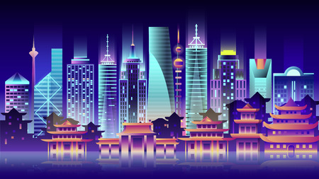 China city night neon style architecture buildings town country travel